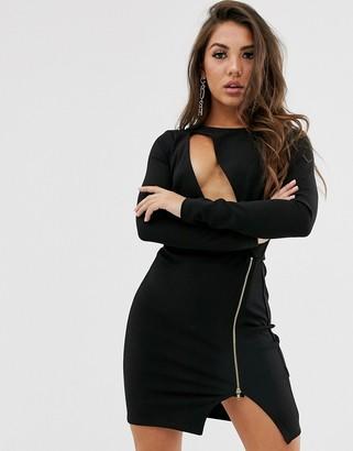 Asos Design DESIGN long sleeve cut out bodycon mini dress with metal zip-Black
