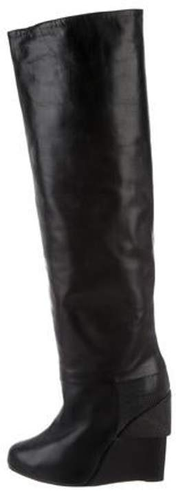 Chrissie Morris Leather Over-The-Knee Boots Black Leather Over-The-Knee Boots