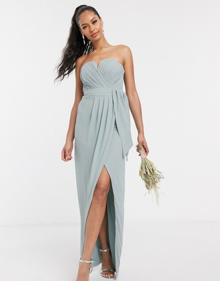 TFNC bandeau wrap midaxi dress with pleated detail in sage