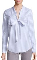 MICHAEL Michael Kors Striped Tie-Neck Blouse