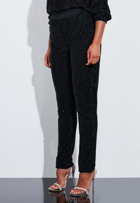Missguided Navy Embellished Drape Joggers