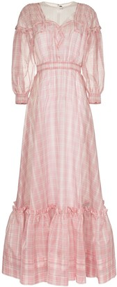 Calvin Klein Check Print Silk Gown