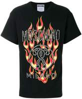 Moschino fire print and studded T-shirt