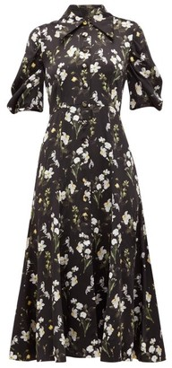 Erdem Gisella Daffodil-print Silk-satin Dress - Womens - Black Print