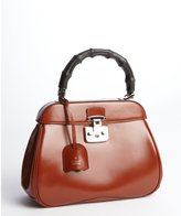 Gucci Burnt Amber Leather Bamboo Handle Satchel