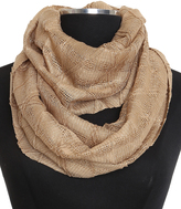 Cejon Camel Diamond Pleat Lurex Infinity Scarf