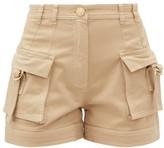 Balmain High-rise Cotton-blend Cargo Shorts - Womens - Nude