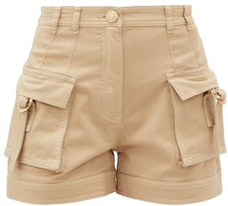 Balmain High-rise Cotton-blend Cargo Shorts - Womens - Nude