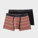 Paul Smith Men's Black And Signature Stripe Boxer Briefs Two Pack