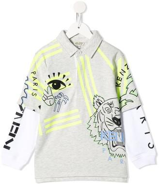 Kenzo Kids Tiger Head Print Polo Shirt