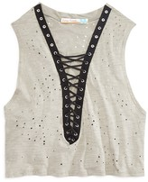 Vintage Havana Girls' Lace-Up Perforated Tank - Sizes S-XL