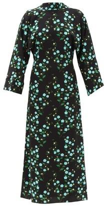 BERNADETTE Miranda V-back Floral-print Crepe Midi Dress - Black Multi