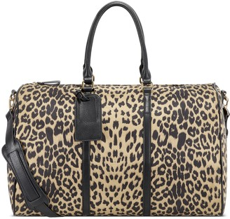 Sole Society Women's Lacie Weekender Vegan Leather In Color: Black Leopard Bag From