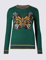 Marks and Spencer Long Sleeve Butterfly Print Jumper