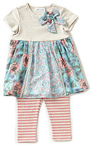 Bonnie Jean Bonnie Baby Baby Girls 12-24 Months Mixed-Media A-Line Dress & Striped Leggings Set