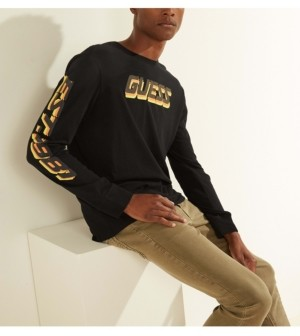 GUESS Men's Riso Long-Sleeve Logo Tee
