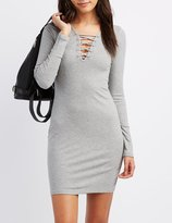 Charlotte Russe Ribbed Lattice-Front Bodycon Dress