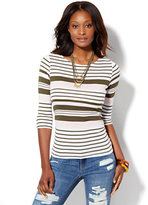New York & Co. Shirred Bateau-Neck Top - Stripe