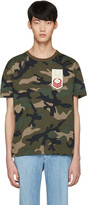 Valentino Green Embroidered Camo T-shirt