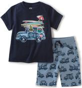 Kids Headquarters Navy Surf Board Tee & Blue Shorts - Toddler & Boys