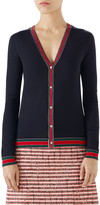 Gucci Stripe Trim Wool Cardigan