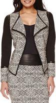 Bisou Bisou Draped Faux-Leather Trim Jacket