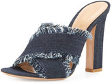 Gianvito Rossi Lela Frayed Denim 105mm Slide Sandal, Navy