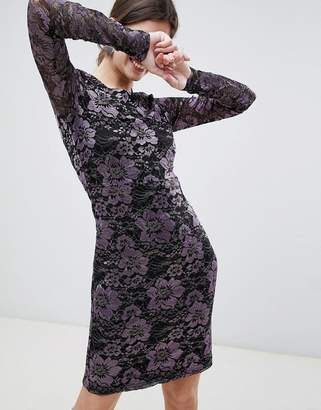 Gestuz Lana Lace Long Sleeved Dress-Purple