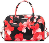 Charles Jourdan Pippa Floral-Print Leather Satchel Bag, Red/Black