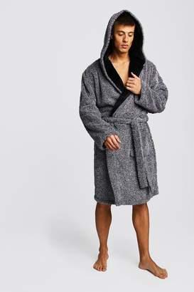 boohoo Two-Tone Supersoft Hooded Fleece Robe