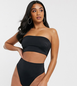 ASOS DESIGN recycled petite mix and match high leg high waist bikini bottom in black