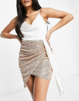 Jaded Rose drape cami 2-in-1 sequin skirt dress in white and gold