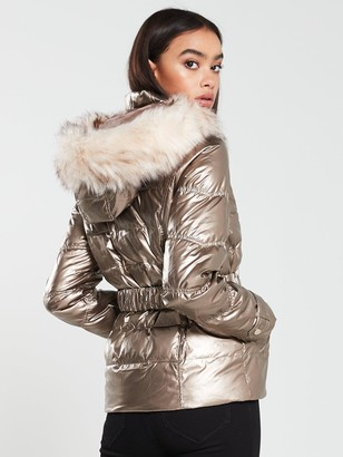River Island Quilted Sleeve Padded Jacket - Bronze