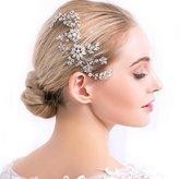 Missgrace Silver Rhinestone Crystal Hair Comb Pins Women Wedding Hair Jewelry Accessories