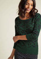 Collectif Intarsia Charm Floral Sweater in XXL - Long Regular Waist by Collectif from ModCloth