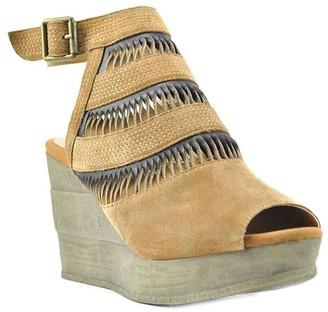 Sbicca Adjustable Leather Wedge Sandals - Nona