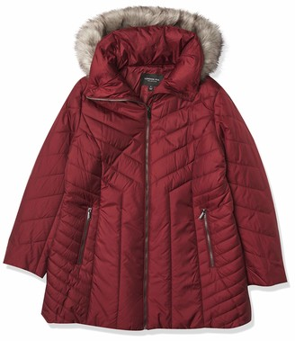 London Fog Women's Zip-up Puffer with Faux Fur Trimmed Hood