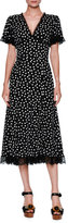 Dolce & Gabbana Polka-Dot Flutter-Sleeve Midi Dress, Black/White