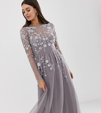 Asos Tall ASOS DESIGN Tall long sleeve maxi dress in embroidered mesh