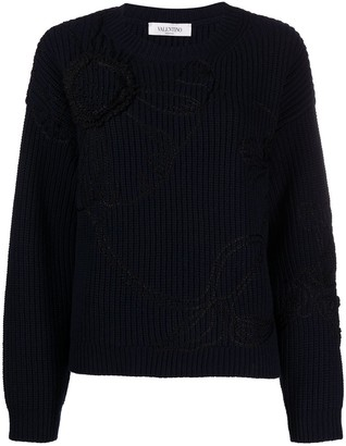 Valentino Floral-Embroidered Knitted Jumper