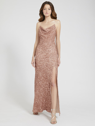 Alice + Olivia Diana Sequin Cowl Neck Gown