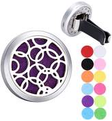 tornado Round Circles Air Freshener Aromatherapy Essential Oil Diffuser 316 Stainless Steel Hollow Locket with Vent Clip 12 Felt Pads