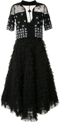 Saiid Kobeisy tiered embellished midi dress