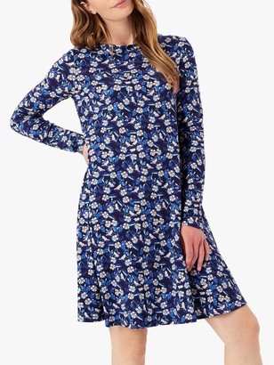 Brora Liberty Print Jersey Swing Dress, Ink/Floral