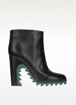 Jil Sander Green Sawtooth Leather Ankle Boot
