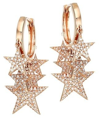 Nina Gilin 18K Rose Gold & Diamond Pave Star Charm Hoop Earrings