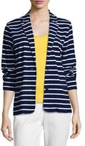 Joan Vass Striped Two-Button Jacket, Plus Size