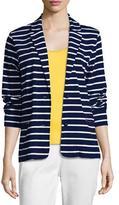 Joan Vass Striped Two-Button Jacket, Plus Size