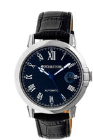 Heritor Automatic Laudrup Mens Leather Magnified Date-Silver/Black Watches