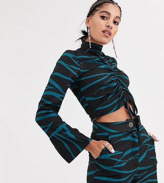 Another Reason high neck crop top with front rouching in teal zebra two-piece